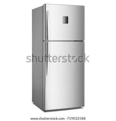 white refrigerator in kitchen. two door refrigerator isolated on white background. side view of stainless steel fridge freezer. in kitchen d