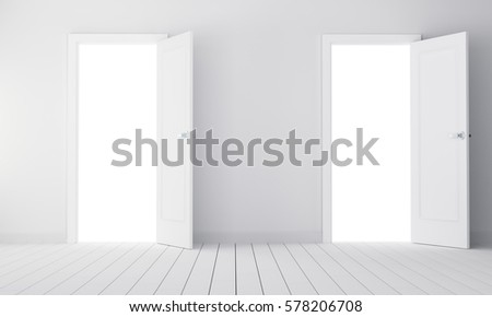 Two doors in empty room. 3D illustration. Choice concept