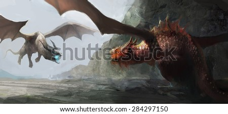 two dragons fighting over territory - stock photo