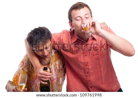Two drunken men drinking alcohol, isolated on white background. - stock photo