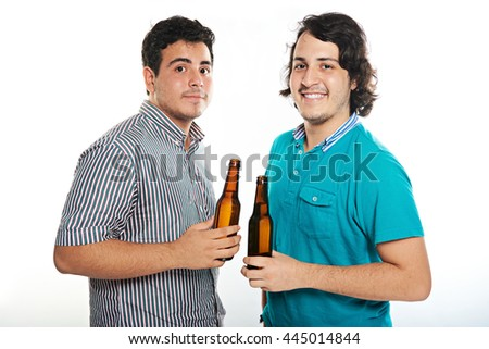 two dudes with beers bottle isolated on white - stock photo