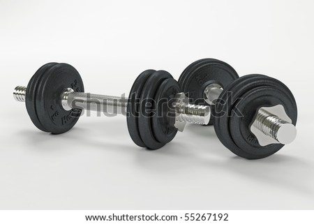 Two dumbbells on white with clipping path - stock photo