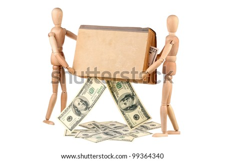 Two dummy removed dollars from an old book isolated on white background - stock photo