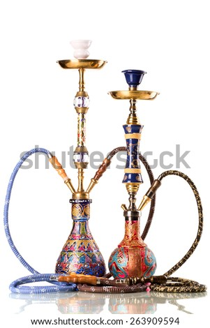Two eastern hookahs isolated on white background - stock photo