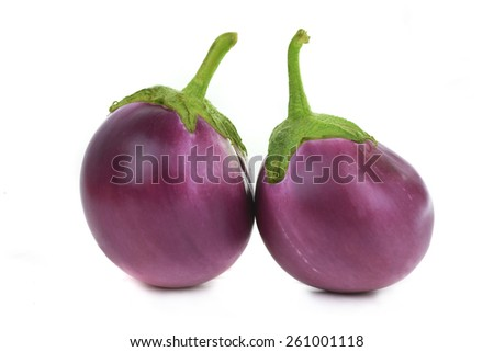 Two  eggplants isolated on white - stock photo