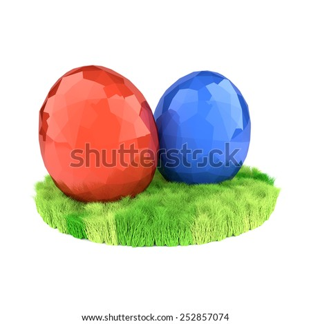 Two eggs on the green lawn. Easter symbols. - stock photo
