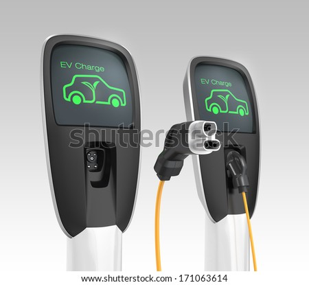 Two electric car charging stations. 3D rendering with clipping path - stock photo