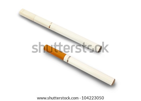 Two electronic cigarettes isolated on white background - stock photo