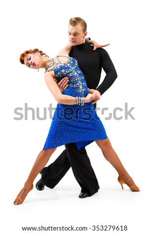 Two elegance dancers. Isolated over white background - stock photo