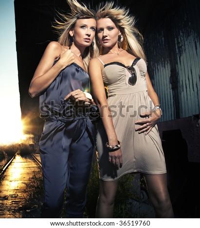 Two elegant blond ladies - stock photo