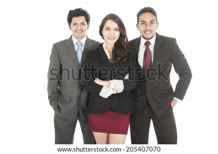 two elegant businessmen and a businesswoman in suits posing half length portrait - stock photo