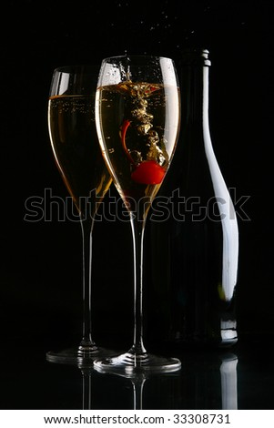 two elegant glasses with champagne