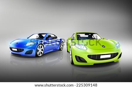 Two Elegant Multicolored Modern Cars - stock photo