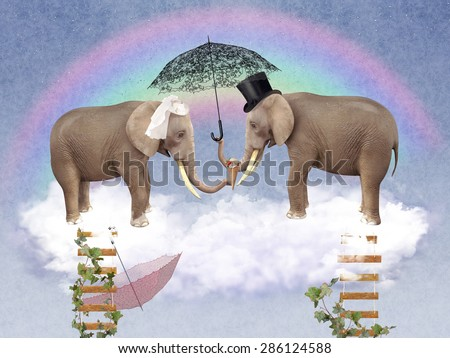 Two elephants in love with umbrellas in the sky. illustration - stock photo