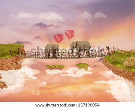 Two elephants on a bridge in the rays of the setting sun with balloons. Illustration - stock photo