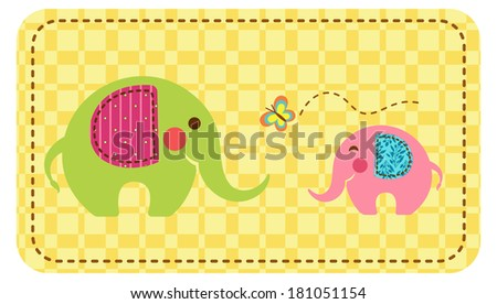Two elephants with a butterfly on a checkered background with stitch border. Raster - stock photo