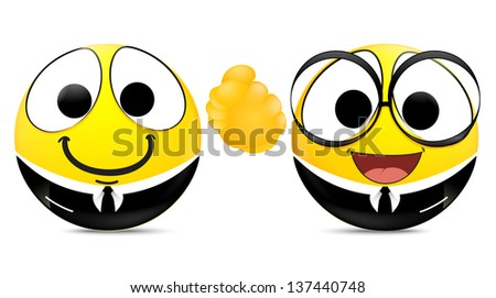 Two emoticons shaking hands . business concept - stock photo