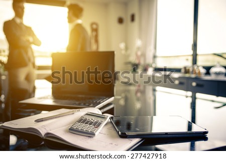 two employer in the office talking about business plans. concept about business,finance,office, employers and people - stock photo