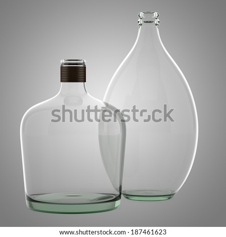 two empty bottles isolated on gray background