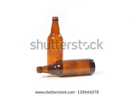two empty bottles of beer - stock photo