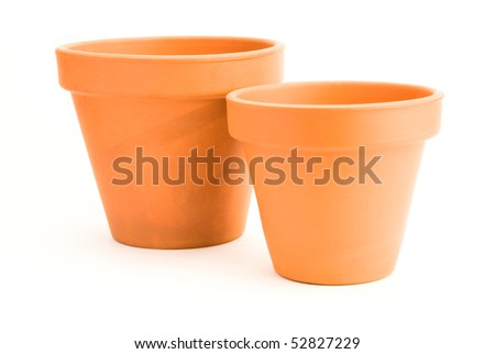 two empty clay flower pots isolated on white background - stock photo