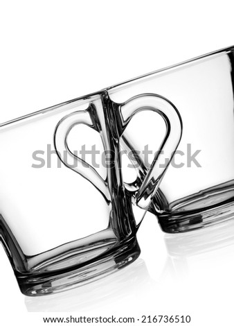 Two empty coffee glasses, close up