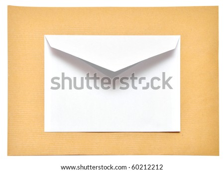 two empty envelope isolated on the white background - stock photo
