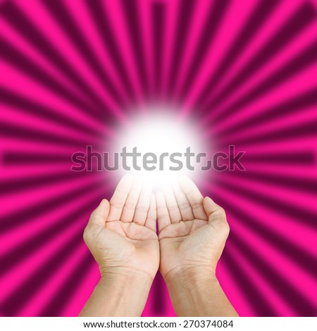 two empty hands isolated on pink  background, - stock photo