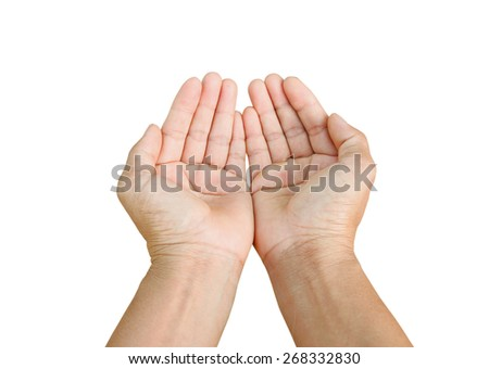 two empty hands isolated on white background, - stock photo