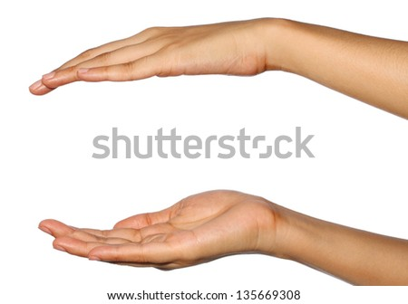 Two empty open hand isolated on white background