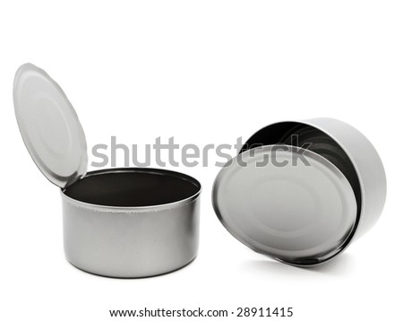 two empty open tins over white background