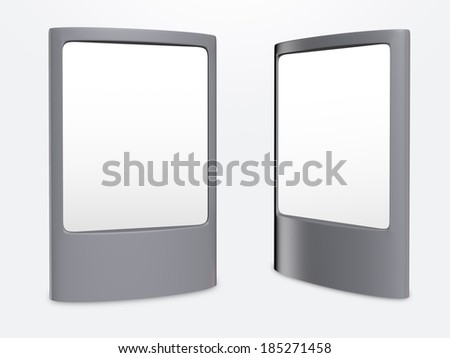 Two empty street banner display on gray background  - stock photo