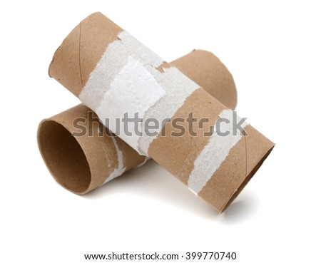 Two empty toilet rolls on white background - stock photo