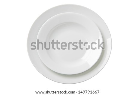 Two empty white plates. Illustration on white background