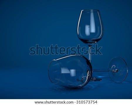 Two empty wine glass on blue background - stock photo