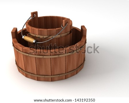 two empty wooden buckets on white background - stock photo