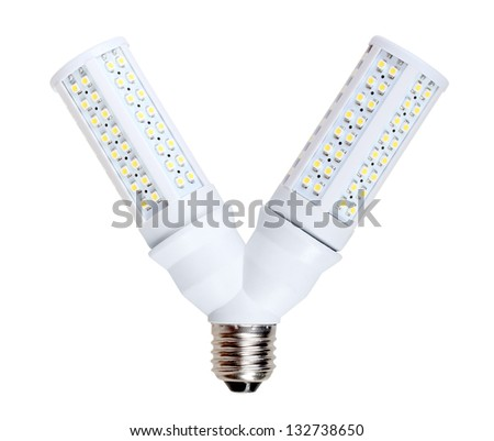Two energy-saving LED-lamps in V-form splitter. Isolated on white background. Studio photography. - stock photo