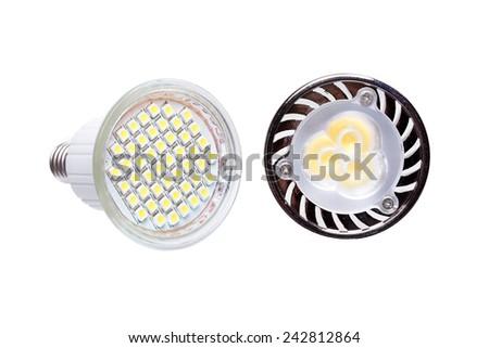Two energy saving LED light bulbs isolated on white - stock photo