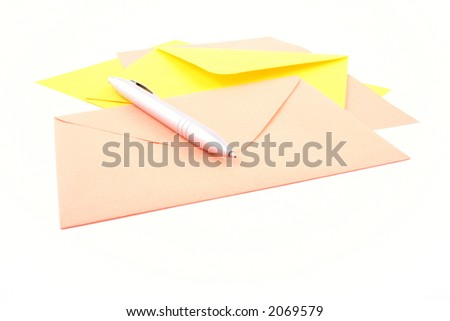 two envelopes paper and pen isolated on white