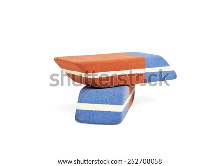 Two erasers isolated on white background - stock photo
