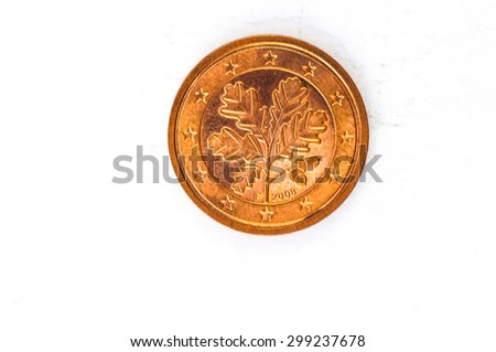 two Euro cent Coin with German backside used look - stock photo