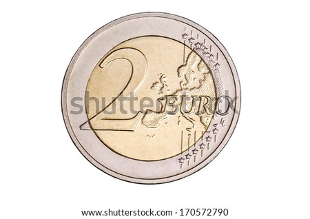 two euro coin free cutted - stock photo