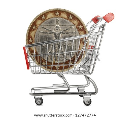 Two euro coin in a shopping trolley on white background - stock photo