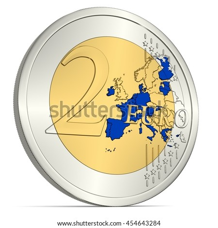 Two Euro Coin with Euro Area in Blue - 3d-Illustration - stock photo