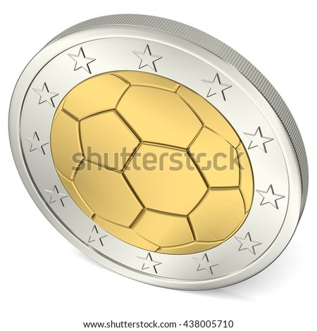 Two Euro coin with soccer ball as minting, 3d-Illustration - stock photo