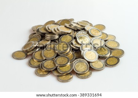 Two Euro coins isolated