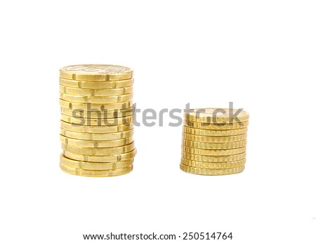 Two euro coins piles isolated on a white background - stock photo