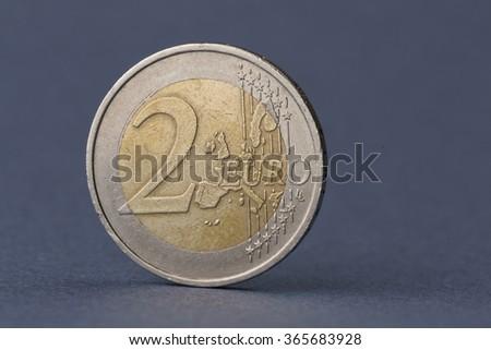 two euro macro  - stock photo