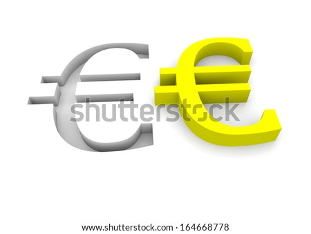two euro signs in yellow and as relief - stock photo