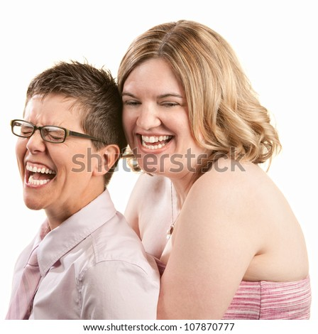 Two European friends laughing together over white background